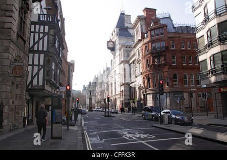 Fleet Street London towards Royal Courts of Justice - Stock Image