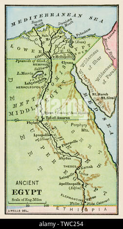 Map of ancient Egypt. Color lithograph - Stock Image