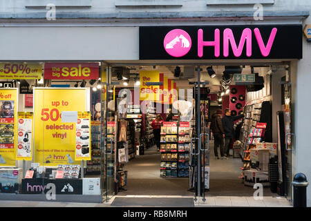 A HMV store in Worcester, England, one of the last chain stores selling physical music - Stock Image