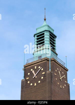 Norwich City Hall Art Deco clock tower, Norfolk England. - Stock Image