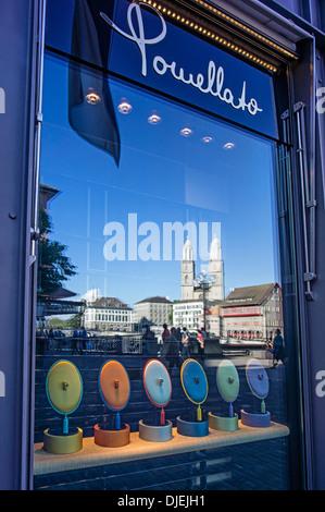 Puellato Juwelry, reflection Grossmunster, Zurich, Switzerland - Stock Image