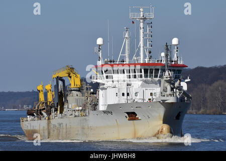 Hopper Dredger Taccola operating in Hamburg - Stock Image