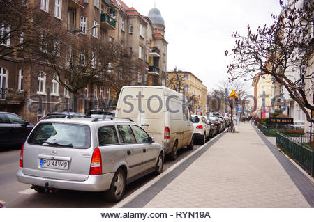 Poznan, Poland - March 8, 2019: Parked Opel Astra by a sidewalk on the Slowackiego street. - Stock Image