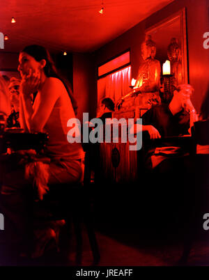 Locals and tourists eat and socialize at Dragon Fly. One of Old San Juan's most popluar restaurants and lounge. Old San Juan, Puerto Rico. - Stock Image