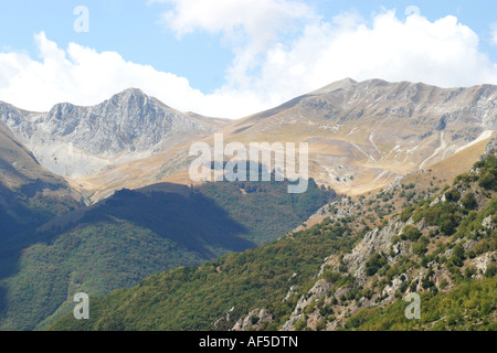 View over the rolling mountains of the Sibillini National park Le Marche Italy - Stock Image