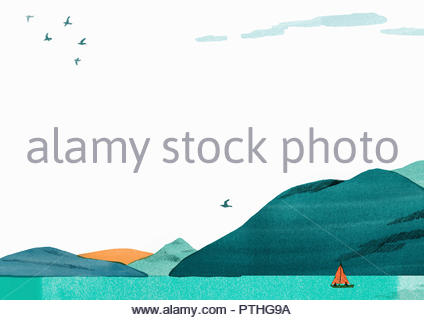 Boat on tranquil lake in mountain scenery - Stock Image