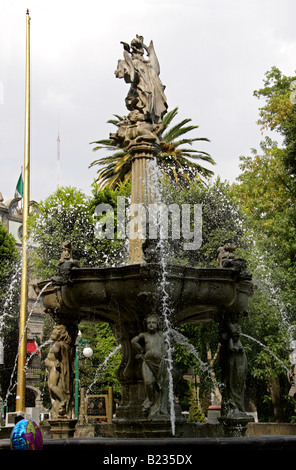 Water Fountain, Zocalo Square, Puebla City, Puebla State, Mexico - Stock Image