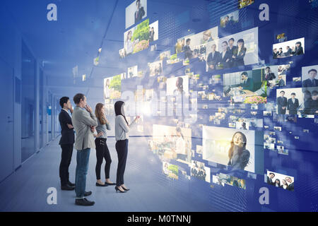 Group of people and information communication technology concept. - Stock Image