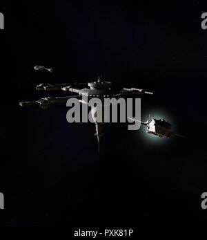 Interstellar Spaceship Leaving a Deep-Space Space Station - Stock Image