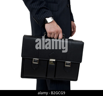 man holding business bag on isolated background - Stock Image