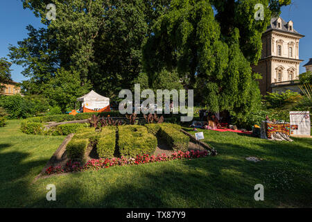 Italy Piedmont Turin Valentino botanical garden view With The Valentino castle - Stock Image