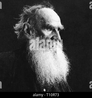 Count Lev Nikolayevich Tolstoy, usually referred to in English as Leo Tolstoy, was a Russian writer who is regarded as one of the greatest authors of all time. Scanned from image material in the archives of Press Portrait Service - (formerly Press Portrait Bureau). - Stock Image