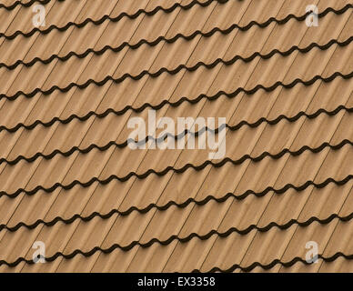 Detail patten of a tiled rooftop covered in clay tiles. - Stock Image