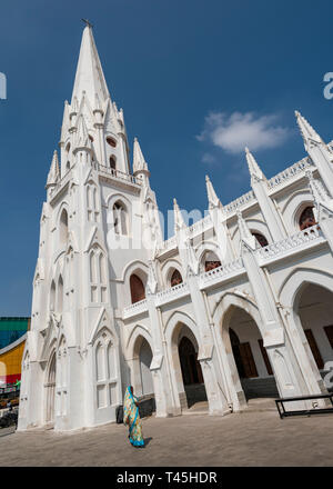 Vertical view of St. Thomas Cathedral in Chennai, India. - Stock Image
