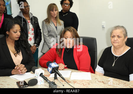 """During a press conference at the law offices of Hilaire McGriff PC, it was announced that former nurses in the Labor & Delivery (""""L&D"""") Department of Huntington Memorial Hospital in Pasadena, California, Martha Beltran and Veronica Loving, filed suit against the hospital alleging discrimination and retaliation  Featuring: Mika Hilaire, Veronica Loving, Myrna Hawthorne Where: Los Angeles, California, United States When: 20 Dec 2018 Credit: Sheri Determan/WENN.com - Stock Image"""