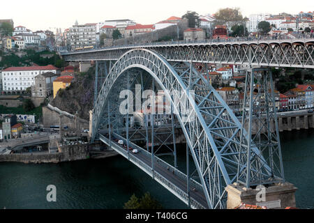 An elevated view of double deck metal arch Dom Luis I bridge structure from Vila de Gaia cable car to Ribeira in Porto Portugal Europe   KATHY DEWITT - Stock Image