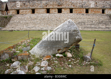 The Pillory Shrine and the Governor's Palace, Uxmal Archeological Site, Yucatan Peninsular, Mexico - Stock Image