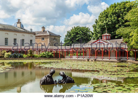 The Chinese Pond and house at Woburn Abbey and Gardens, near Woburn, Bedfordshire, England. It is the seat of the Duke of Bedford and the location of  - Stock Image