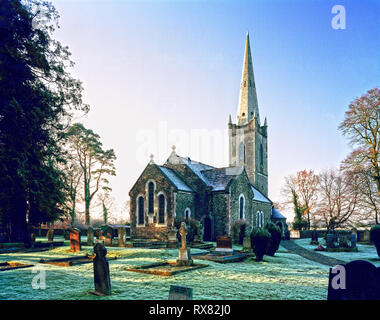 St.Patrick's Church of Ireland church at Carnalway, Co Kildare, Ireland, on a frosty morning - Stock Image