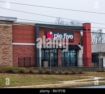 HICKORY, NC, USA-1/3/19: Pie Five Pizza is a restaurant chain specializing in fast pizzas.  Currently the chain has over 100 stores. - Stock Image