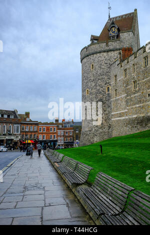 16 December 2018, Windsor, UK - Windsor Castle tower near Castle Hill, Windsor, UK - Stock Image