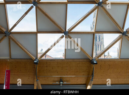 Herbert Art Gallery and Museum interior showing the geodesic timber and glass roof with the old cathedral in the background, Coventry UK. - Stock Image