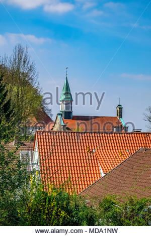 The Roman Catholic parish church of St. Michael, built from 1845 to 1846, in Tecklenburg, Steinfurt district, North Rhine-Westphalia, Germany. - Stock Image
