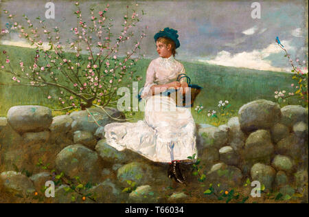 Winslow Homer, Peach Blossoms, painting, 1878 - Stock Image
