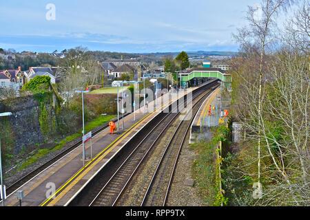 An overview of Bridgend Railway Station on the main line between Swansea & London Paddington. - Stock Image