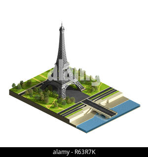 Eiffel tower with terrain isolated on the white. Champs de Mars. Isometric view. 3D render illustration. - Stock Image