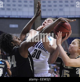 Storrs-- NCAA Division I Women's Basketball Championship. UCONN's Breanna Stewart takes the hard foul from - Stock Image