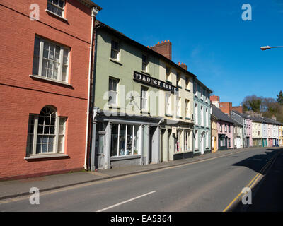 Brecon colourful old buildings along the west side of the Struet, Viaduct house on the left. - Stock Image