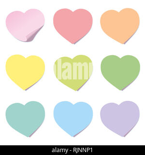 Heart post collection. Sticky notes, heart shaped, different colors - illustration on white background. - Stock Image