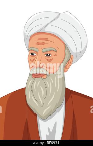 A vector illustration of Al-Razi Muslim Philosopher - Stock Image