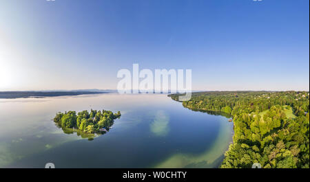 Island in Lake Starnberg, Bavaria, Germany - Stock Image