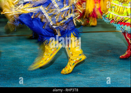 First Nation Dancers at the Tsuut'ina Annual Rodeo & Pow Wow Bragg Creek Alberta Canada - Stock Image