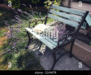 Garden Chair with Gypsophila and a book amongst Lavender. - Stock Image