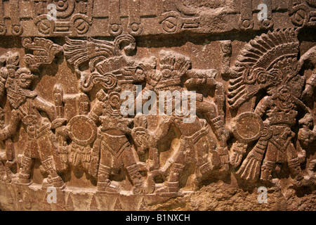 Detail of Round Stone Cuauhxicalli Decorated with Battle Scenes Between Pre-Columbian Warriors, Museum of Anthropology, - Stock Image