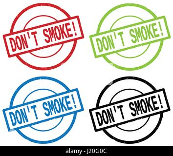 DON'T SMOKE_1 text, on round simple stamp sign, in color set. - Stock Image