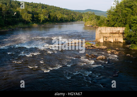 The site of the breached Wyoming Dam on the Connecticut River in Guildhall, Vermont. - Stock Image