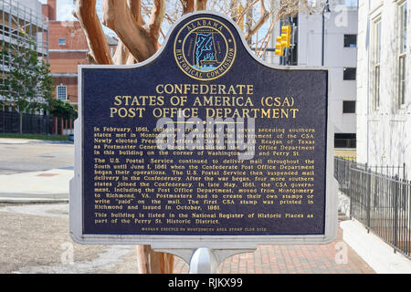 Historical marker for the Confederate States of America (CSA) Post Office Department in downtown Montgomery Alabama, USA. - Stock Image