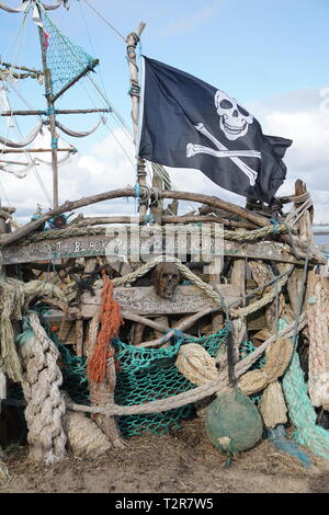 Close Up Of The Pirate Ship 'Black Pearl', New Brighton. - Stock Image