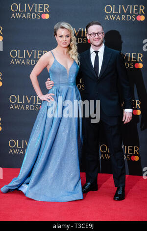 Joanne Clifton , Kevin Clifton poses on the red carpet at the Olivier Awards on Sunday 7 April 2019 at Royal Albert Hall, London. . Picture by Julie Edwards. - Stock Image
