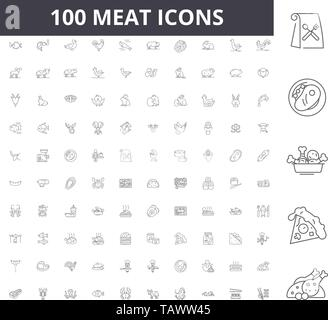 Meat line icons, signs, vector set, outline illustration concept  - Stock Image