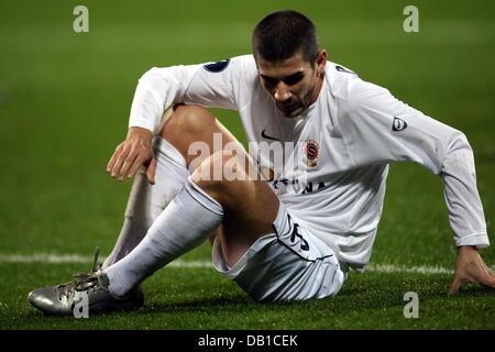 Prague's Jan Rezek pictured during the UEFA Cup group E match Bayer Leverkusen v Sparta Praha at BayArena in - Stock Image