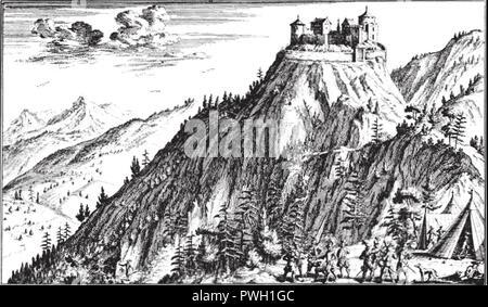 Burg Uznaberg - Belagerung von 1268 - Stich aus dem Neujahrsblatt der Bürgerbibliotek Zürich. - Stock Image
