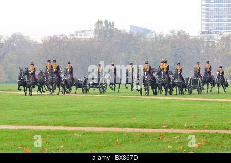 King's Troop, Royal Horse Artillery, Hyde Park, London - Stock Image