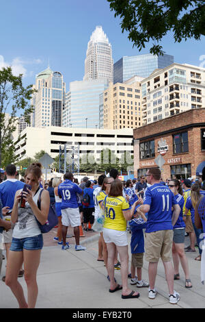 Charlotte, North Carolina, USA, July 25, 2015: The city of Charlotte hosts International Champions Cup match between - Stock Image