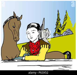 Cowgirl and horse.  illustration of beautiful young cowgirl on the faraway farm. - Stock Image