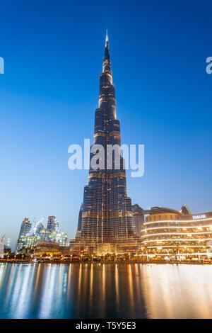 DUBAI, UAE - FEBRUARY 24, 2019: Burj Khalifa or Khalifa Tower is a skyscraper and the tallest building in the world in Dubai, UAE - Stock Image